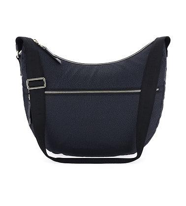 BORBONESE. Luna Bag Medium. Jet OP/Leather. Black.