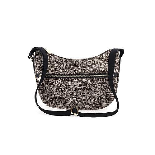 BORBONESE. Small Luna Bag. Jet Nylon & Leather with Pocket