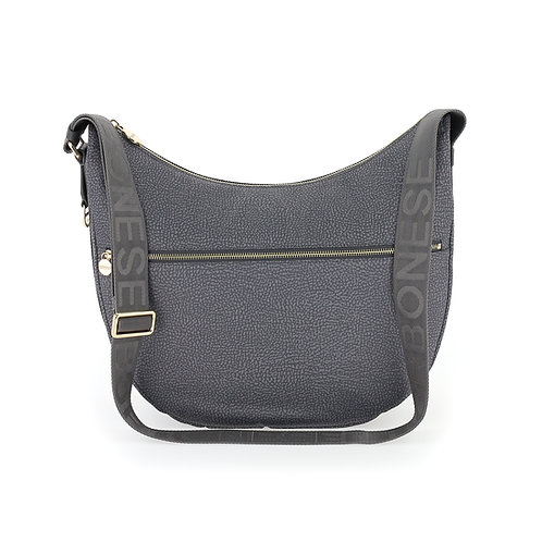 BORBONESE. Luna Bag Medium. Sustainable Selection. Recycled Nylon Hobo Bag