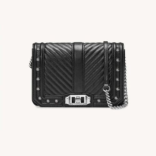 REBECCA MINKOFF. Chevron Quilted Small Love Crossbody With Studs