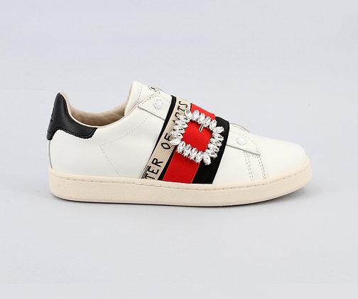 MOA. White Leather Gallery Diamond Sneakers.