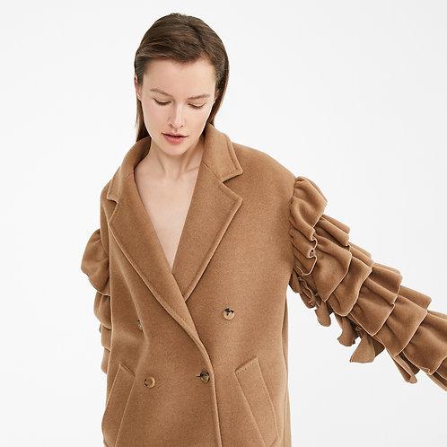 MAX MARA. Camel beaver pea coat