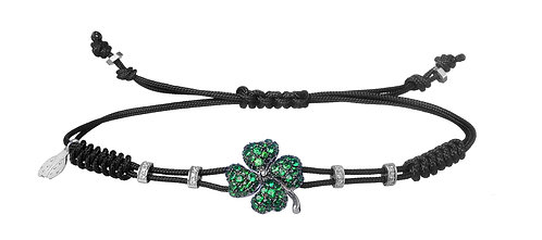 PIPPO PEREZ. Four Leaf Clover Bracelet with Diamonds and Green Garnets