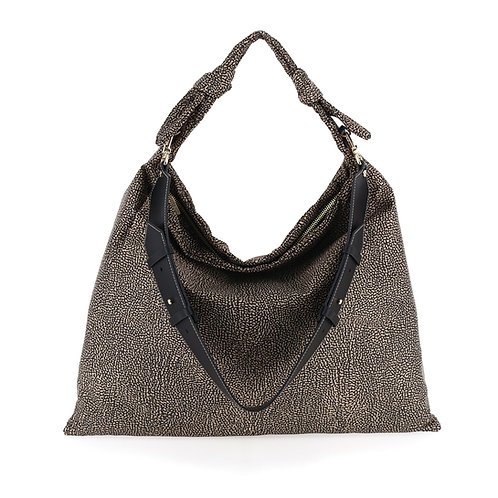 BORBONESE. Desert Large. Recycled Op Nylon Leather Shopper