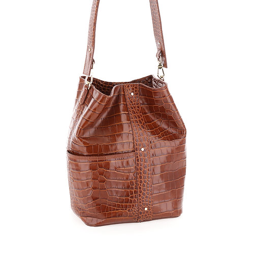 BORBONESE. Out Of Office Medium. Leather bucket bag.