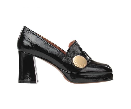 L'AUTRE CHOSE. Black patent leather loafer.