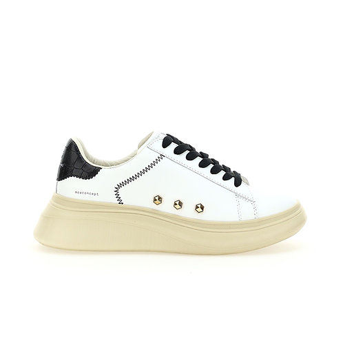 MOACONCEPT. Double Gallery Lace White Studs Detail