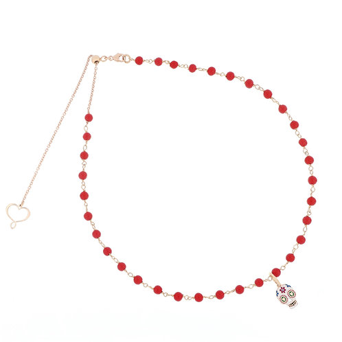 MAMAN ET SOPHIE TULUM. Coral Rosary with Skull