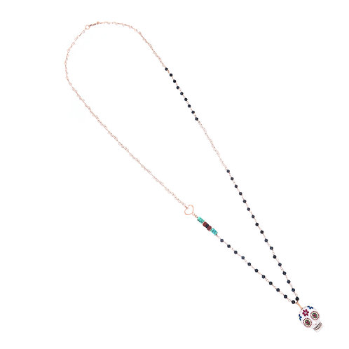 MAMAN ET SOPHIE TULUM. Long Spinel Rosary with Skull