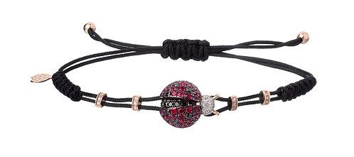PIPPO PEREZ. Small Ladybug Bracelet with Rubies, Diamonds and Black Diamonds