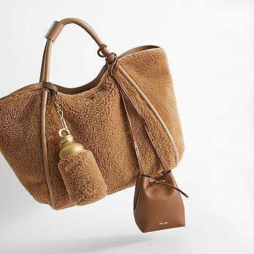 MAX MARA. Camel and silk shopper bag