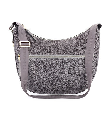 BORBONESE. Luna Bag Medium. Jet OP/Leather. Slate Grey.
