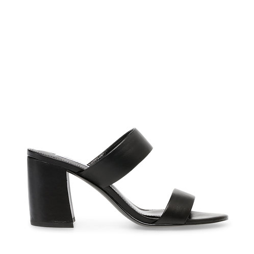 STEVE MADDEN. Amalina Black Leather Sandal