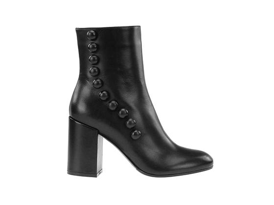 L'AUTRE CHOSE. Black ankle boot with button detail.