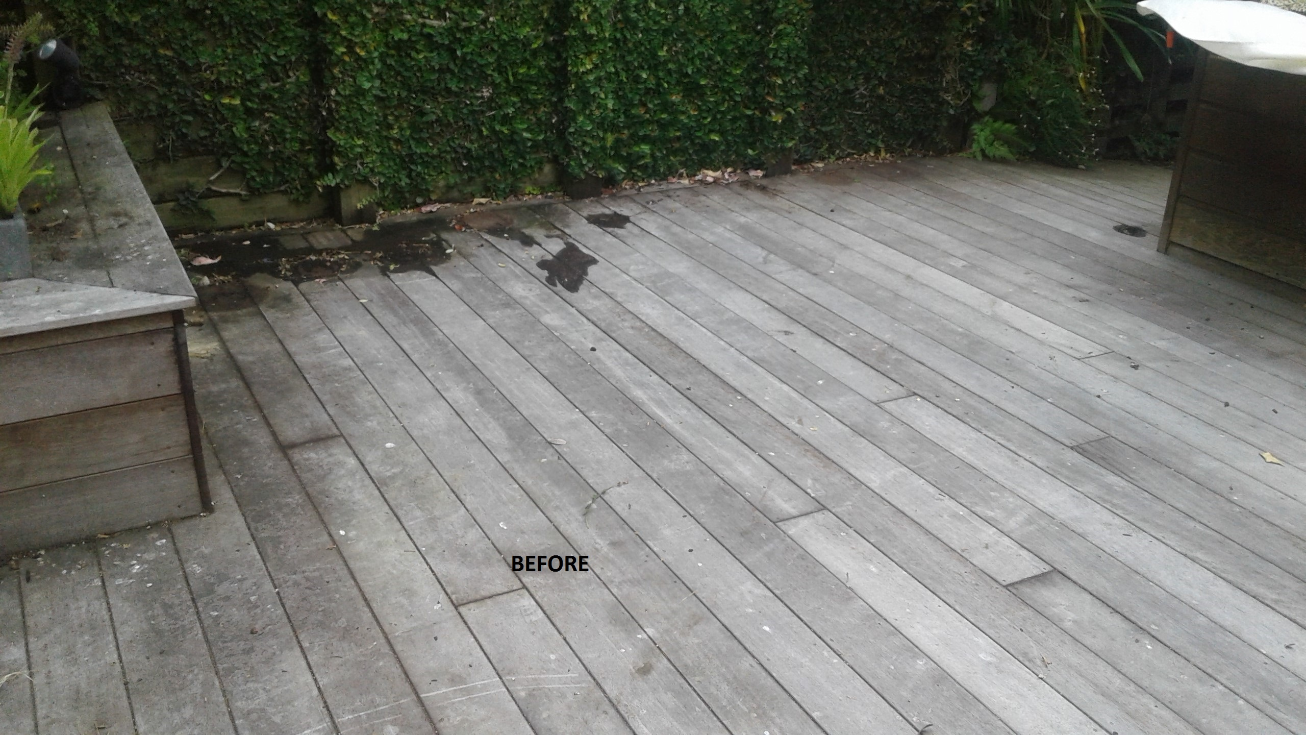 Cedar deck restoration, before