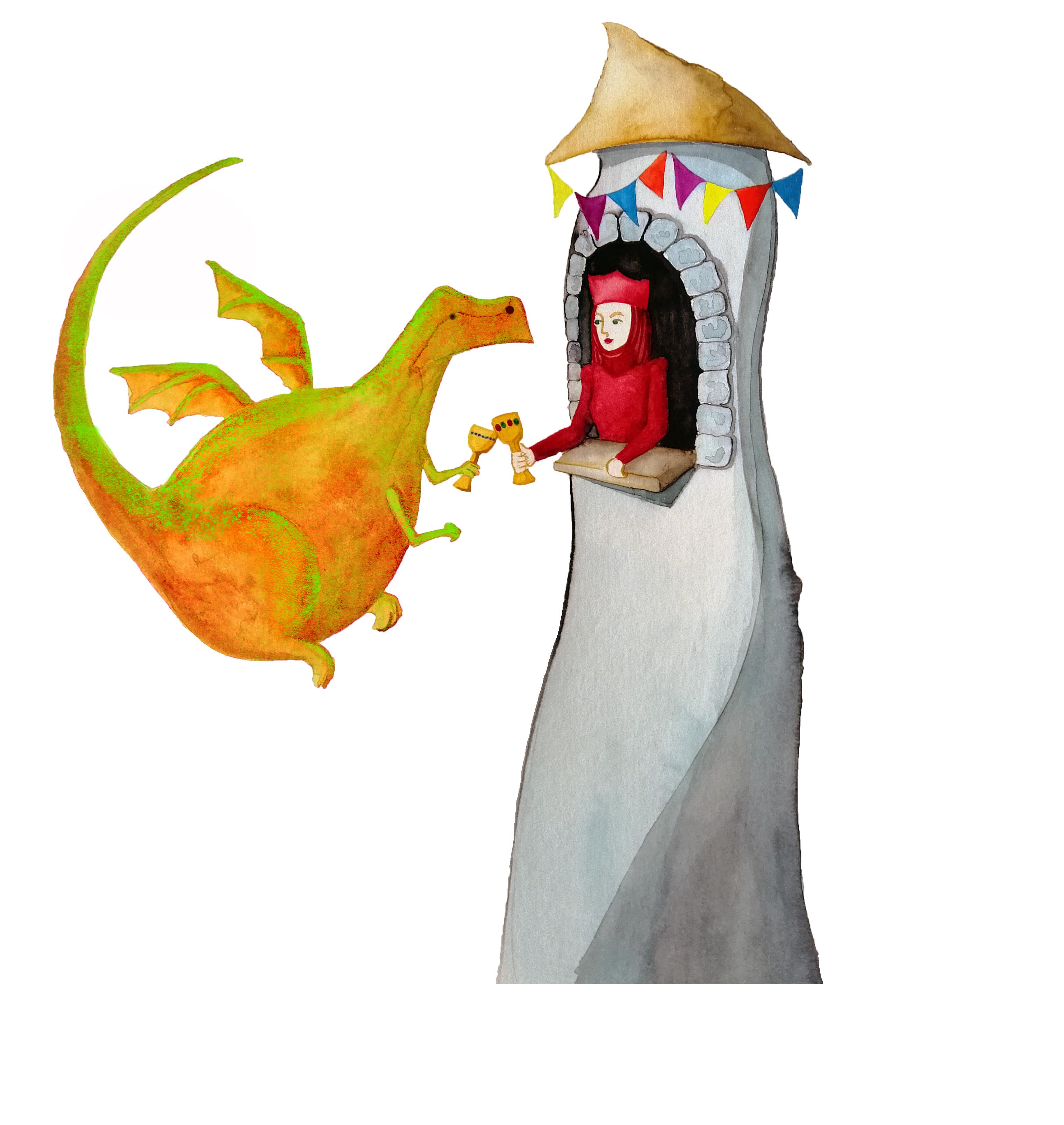 Dragón brindando png