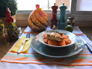 Frango assado com mostarda e cenouras!