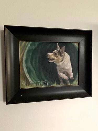 """Tunnel!"" framed original oil painting."