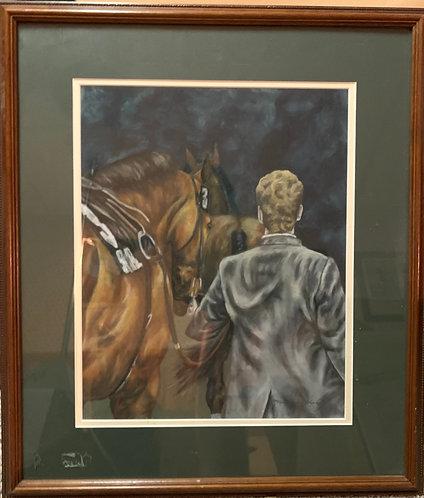 """""""Shudanz,"""" 17 x 14 oil pastel, framed."""