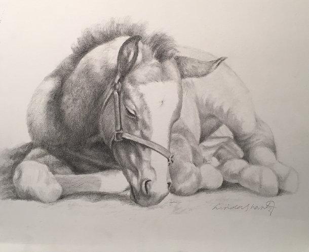 """""""Recharging,"""" original pencil drawing"""