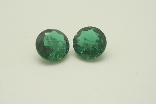 Hydrothermal Emerald Platinum color,Round 9 mm, 2 pcs (Pair)Weight 4.45cts