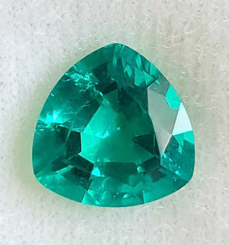 Colombian created color Emerald 11 mm trillion 3.88 ct