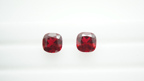 Pulled Ruby,Cushion 8x8 mm, 2pcs (Pair), Weight 5.42 cts