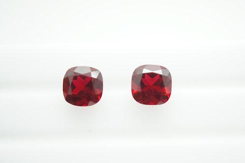 Pulled Ruby, Cushion 8x8 mm, 2pcs (Pair), Weight 5.42 cts