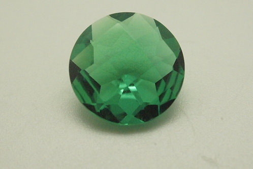 Hydrothermal Emerald Colombian color, Round Checkerboard 10.5mm, Weight 2.85 cts