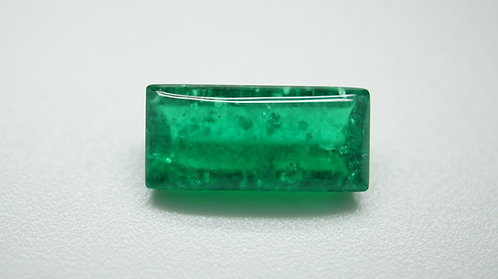 Hydrothermal Emerald Colombian color, Baguette Cabochon 17x8 mm, Weight 6.45 cts