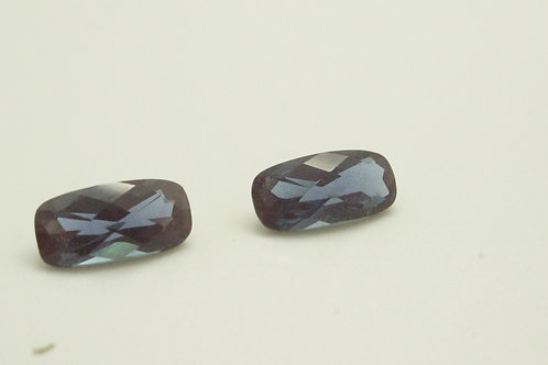 Pulled Alexandrite, CushionCheckerboard 10x5mm, 2 pcs (Pair), Weight 2.37cts