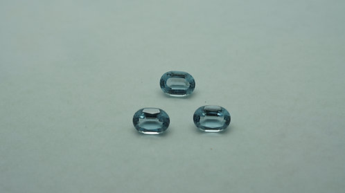 Hydrothermal Aquamarine, Oval 7x5 mm 3pcs, Total weight 2.25 cts