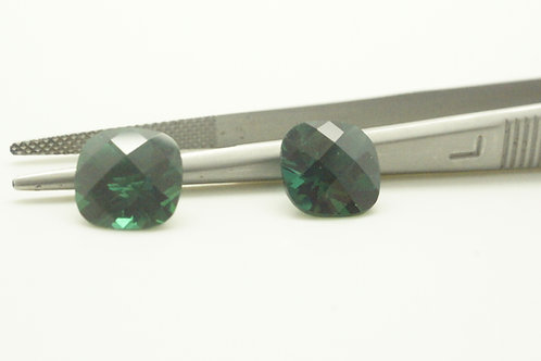 Hydrothermal Emerald Regular color, Antique Checkerboard 9x9 mm, Pair, 4.70 cts
