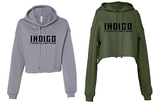INDIGO -BELLA+CANVAS Women's Cropped Fleece Hoodie 7502