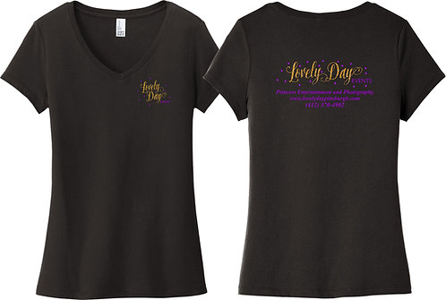 LOVELY DAY | District  Women's V-Neck TEE - DT6503 -BLACK