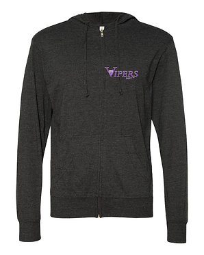 VIPERS | Jersey Hooded Full-Zip T-Shirt - Charcoal Grey   SS150JZ