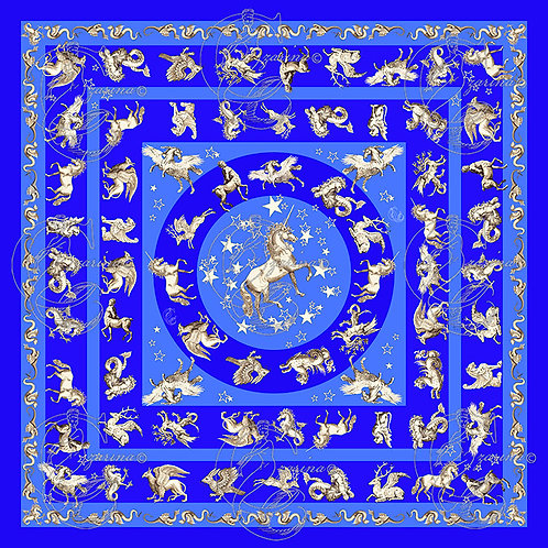 Unicorns & Stars Sapphire part of a collection of luxury scarves for women