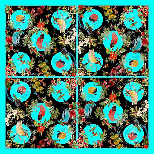 Birds of Paradise Cyan/Black part of a collection of luxury scarves for women