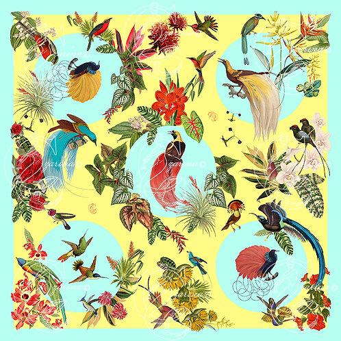 Birds of Paradise lemon silk scarf square