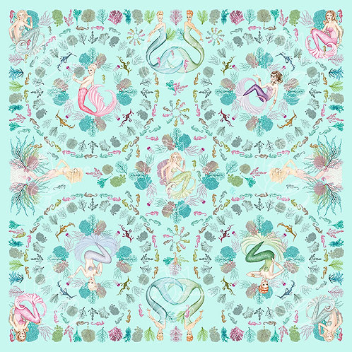 Mermaids & Coral aqua part of a collection of luxury scarves for women