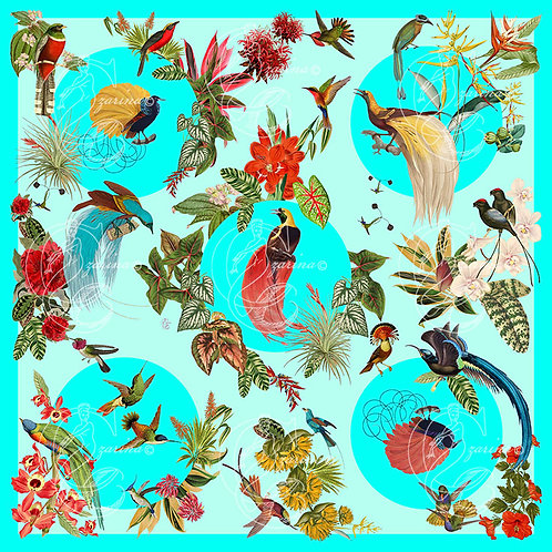 Birds of Paradise Cyan part of a collection of luxury scarves for women