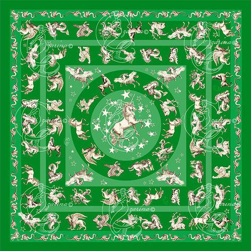 Unicorns & Stars emerald part of a collection of luxury scarves for women