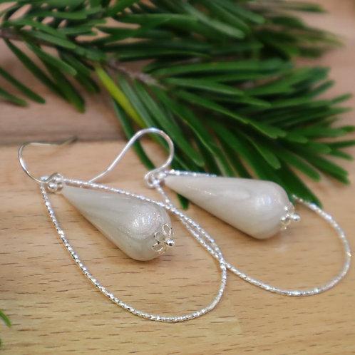 Boucles Gouttes Argent Pearl