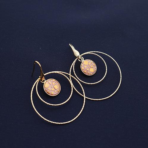 Petites Créoles Plaqué or Scarabée Rose