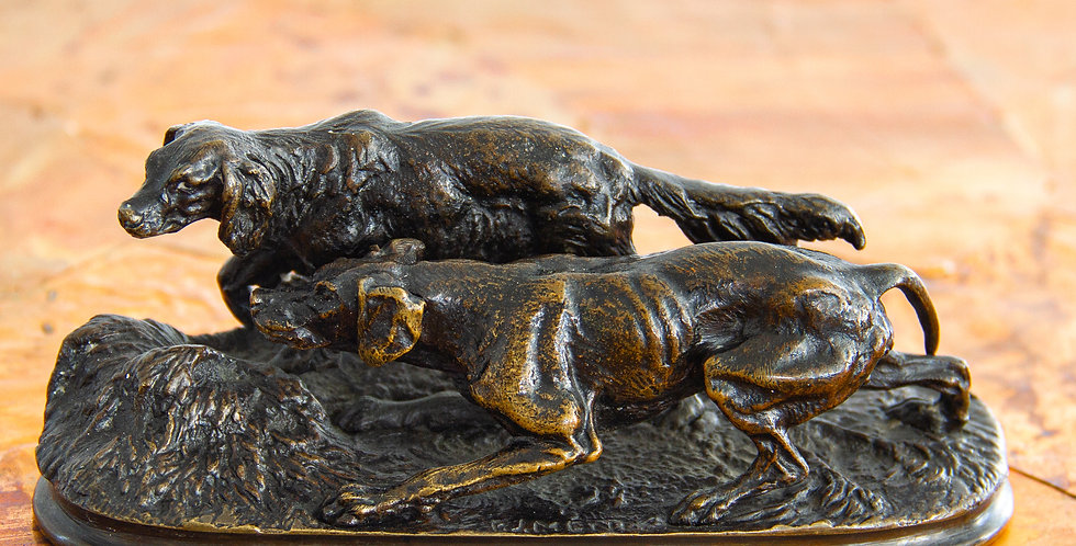 Small Bronze Sculpture of Two Hunting Dogs