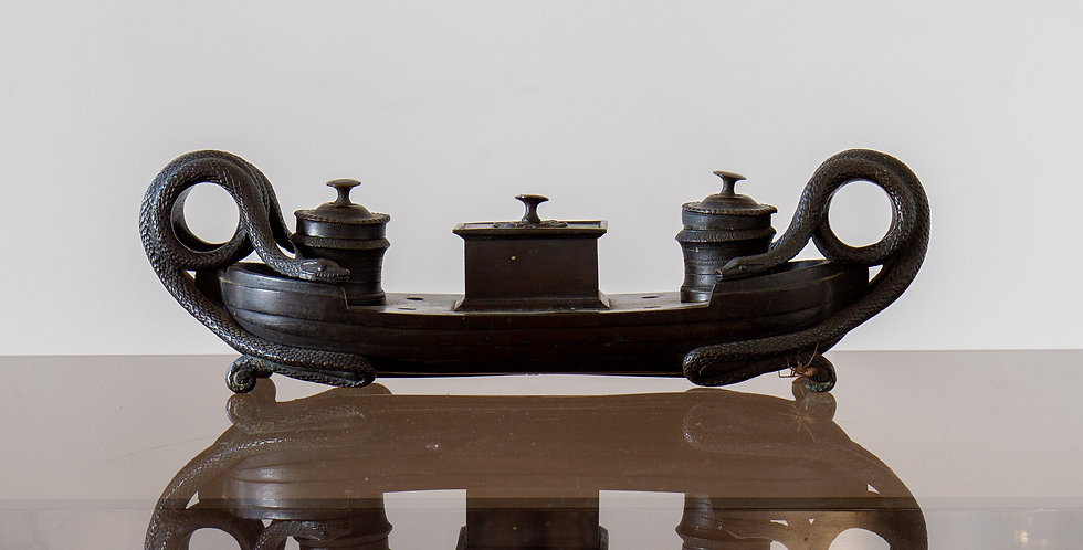 A Superb Regency Bronze Ink Stand, Mounted with Serpents
