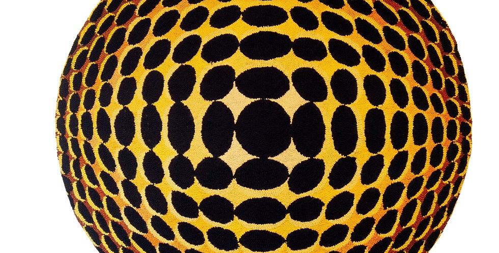 Huge Optical Art Woven Wall Sculpture Panel/Rug 1970s