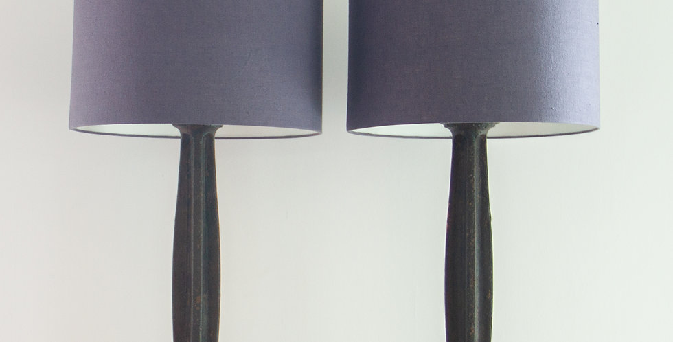 A Pair of 19th Century Cast Iron Lamps