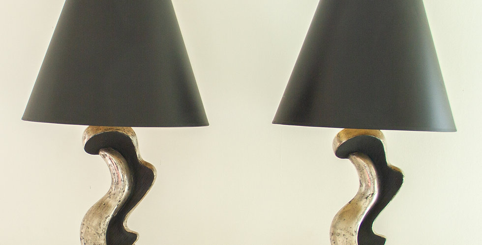 Pair of Silver Gilt and Ebony Lamps 1950's