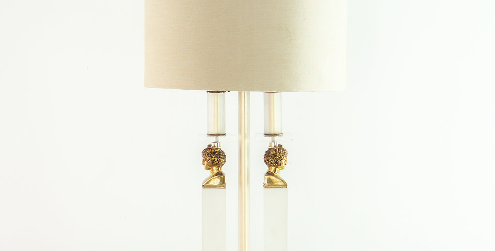 Lucite and Brass Neoclassical Style Lamp, 1970s